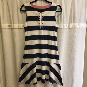 Chaps Blue & White Nautical Style Dress, Size S
